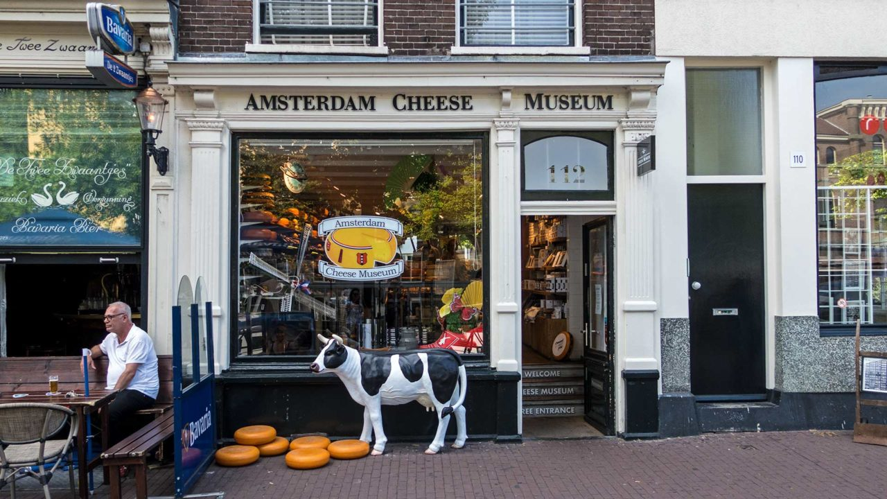 The Amsterdam Cheese Museum with countless types of cheese