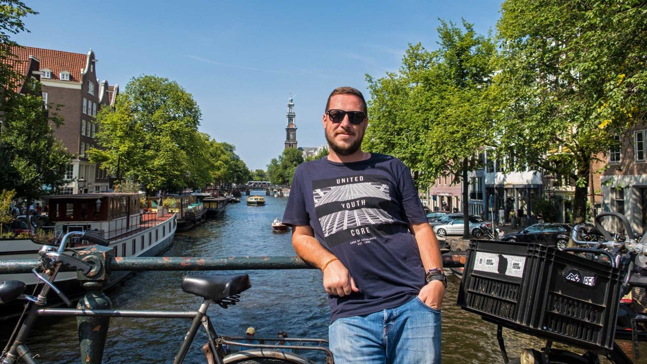 Tobi at one of the many canals of Amsterdam