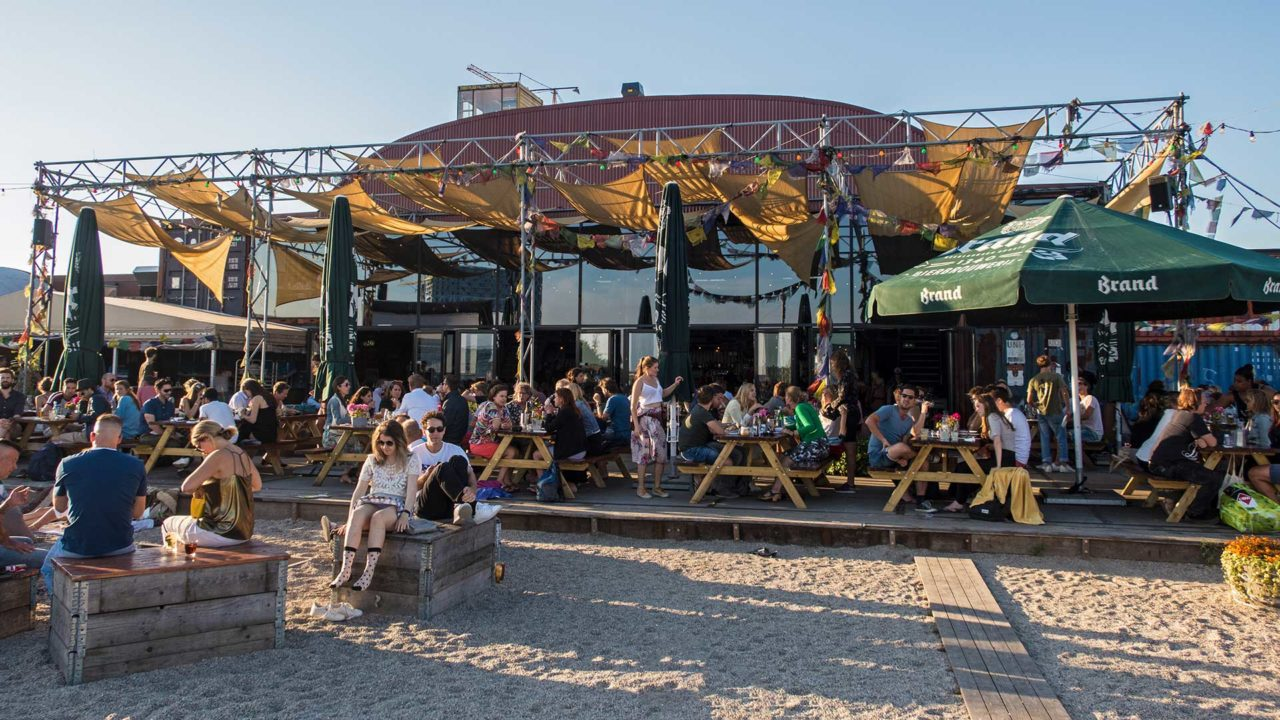 The Pllek Beachbar at the NDSM shipyard in Amsterdam