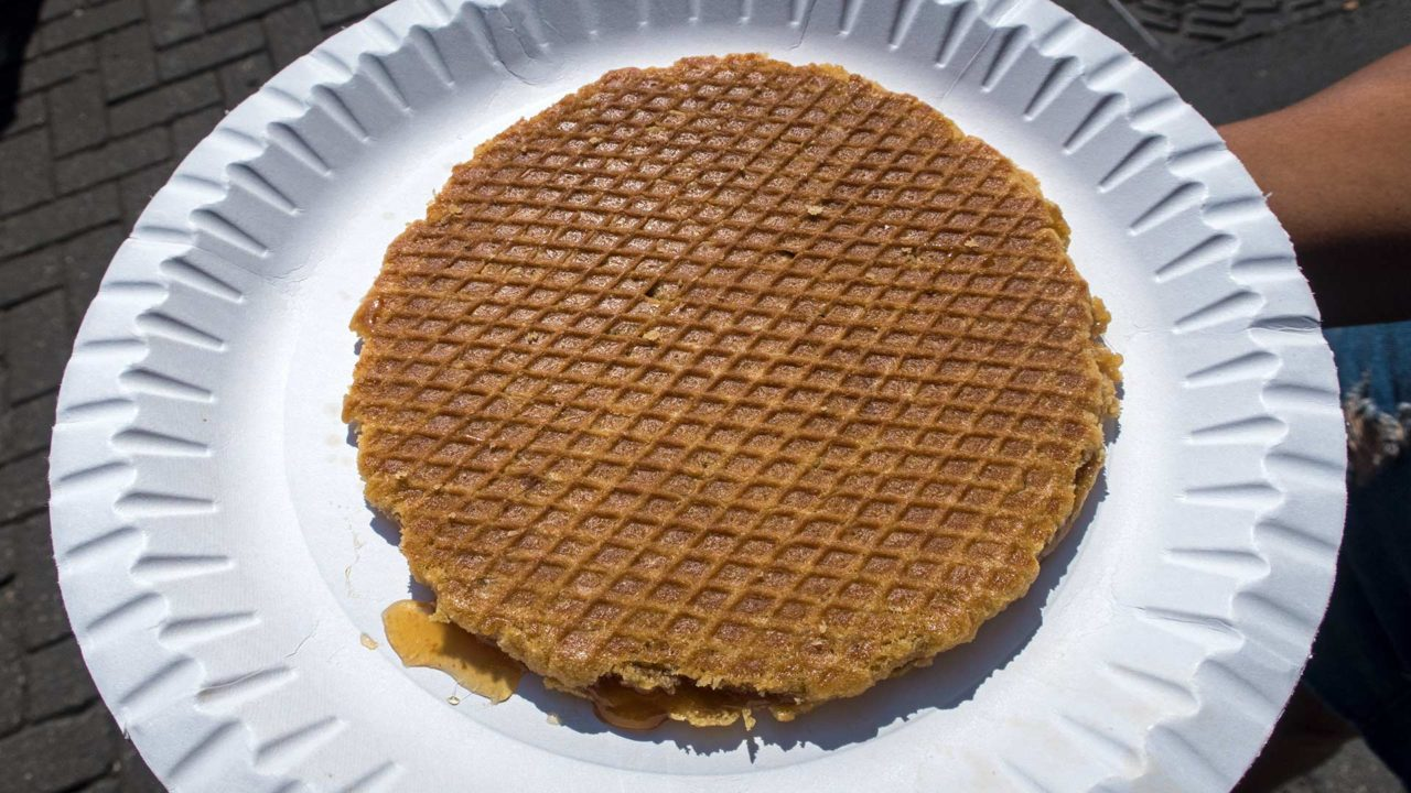 A hot fresh Stroopwafel, Dutch specialty