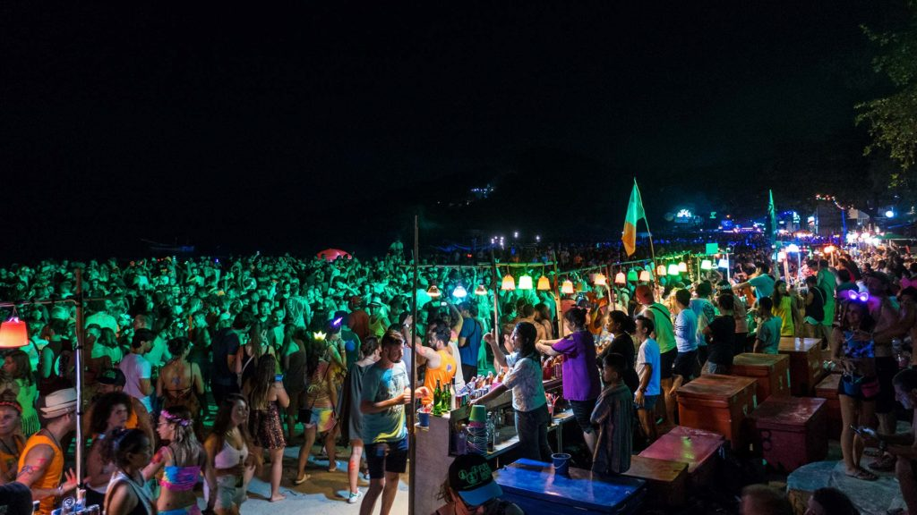 People at the Full Moon Party of Koh Phangan, Thailand