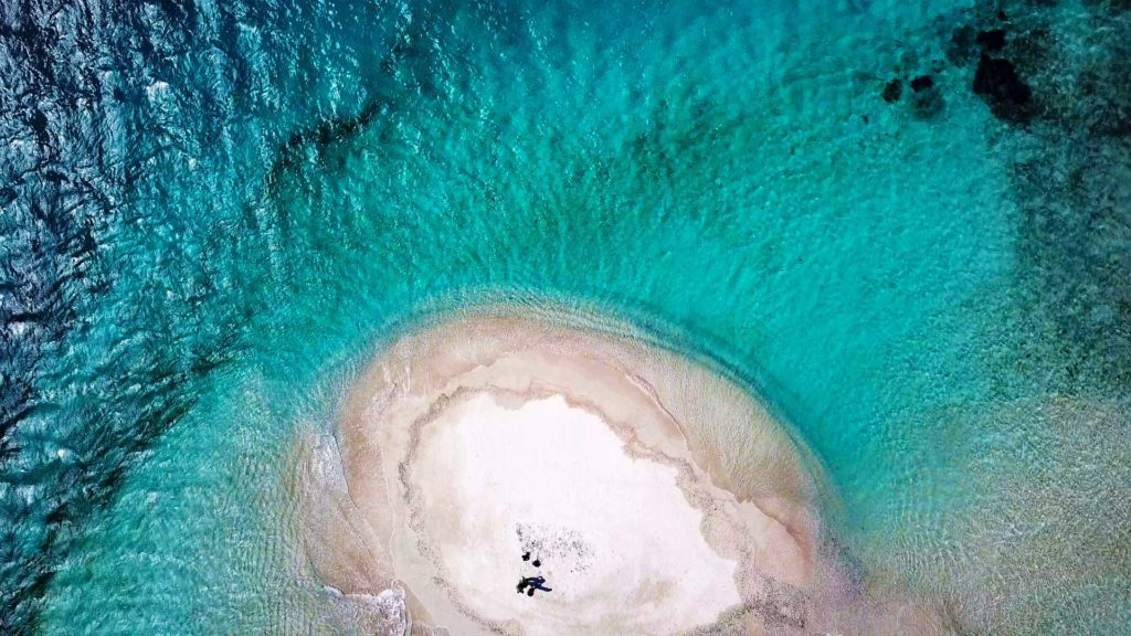 The sandbar island Gili Kapal taken from above with the drone