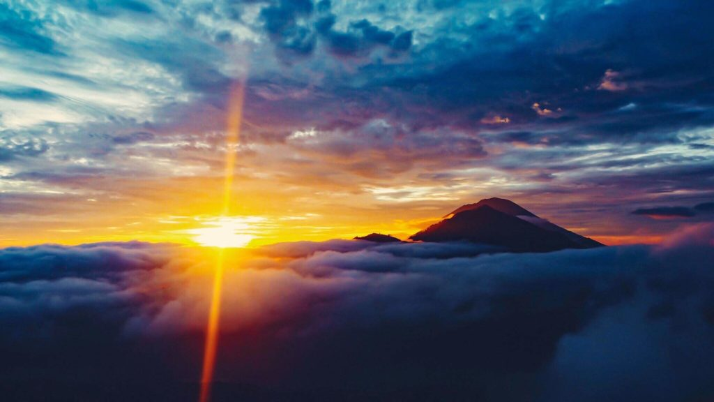 Magic sunrise at Mount Batur on Bali