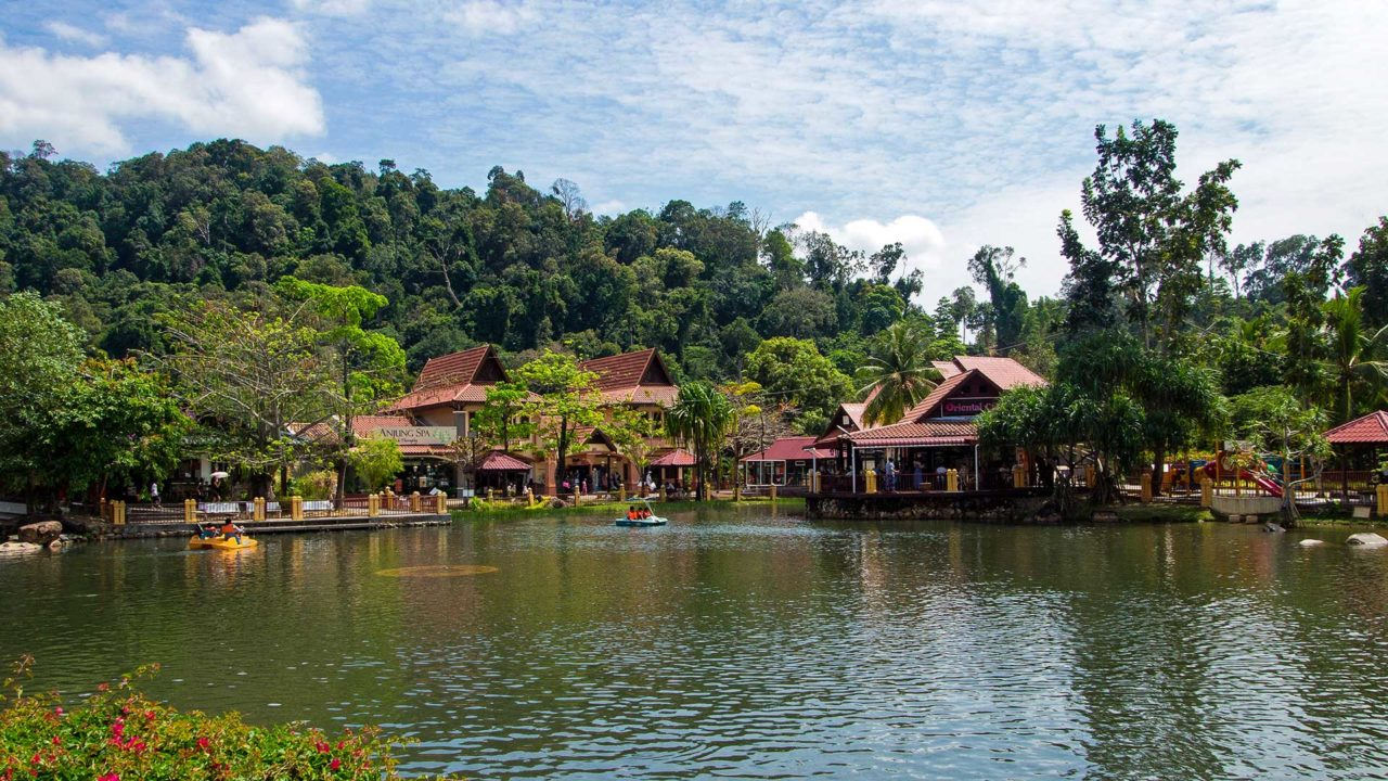 The lake and shops in the Oriental Village, Langkawi