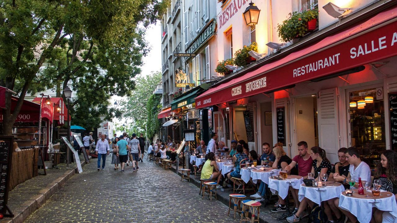 Restaurants am Place du Tertre in Montmartre, Paris
