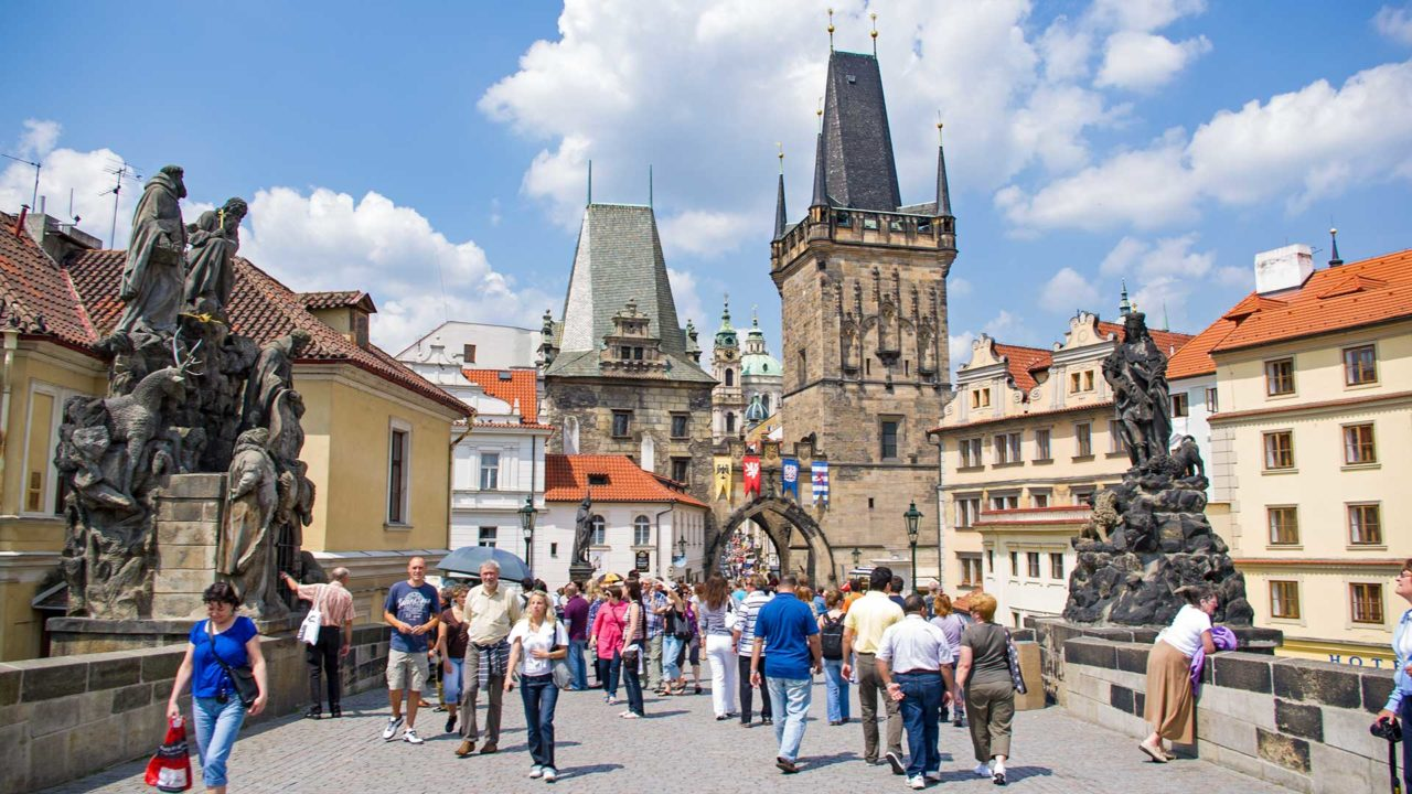 Tourists on the Charles Bridge in Prague