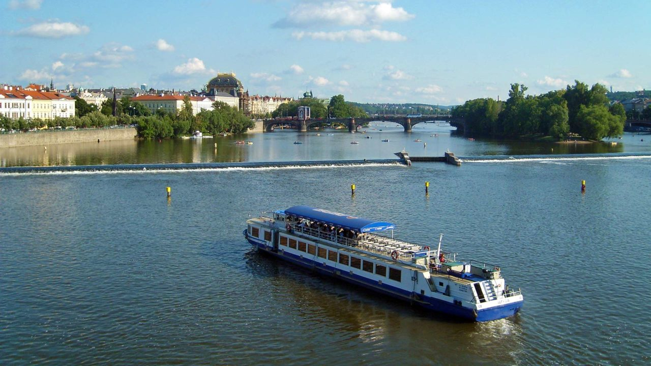 A boat on the Vltava River in Prague