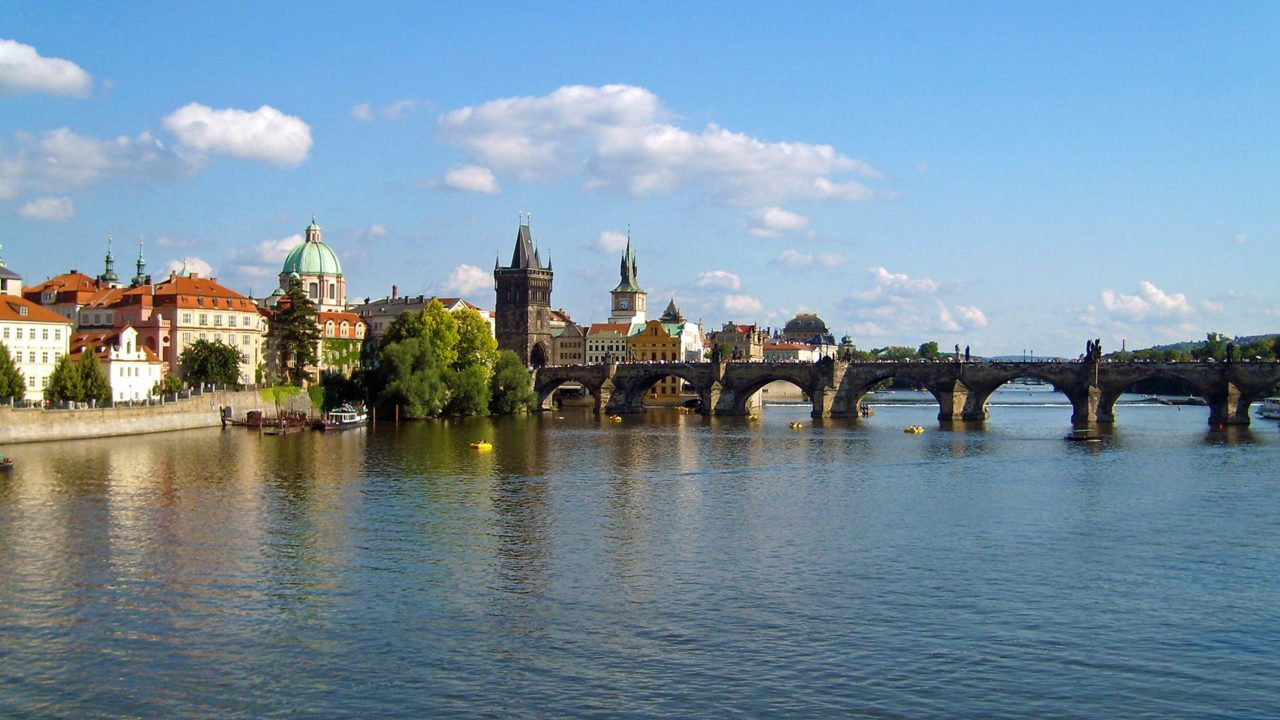 The Charles Bridge of Prague during a boat ride on the Vltava River