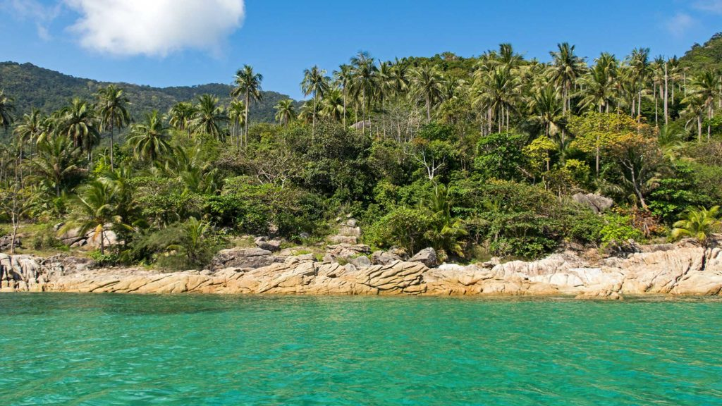 Rocks, palm trees and beautiful water on the boat trip to Bottle Beach