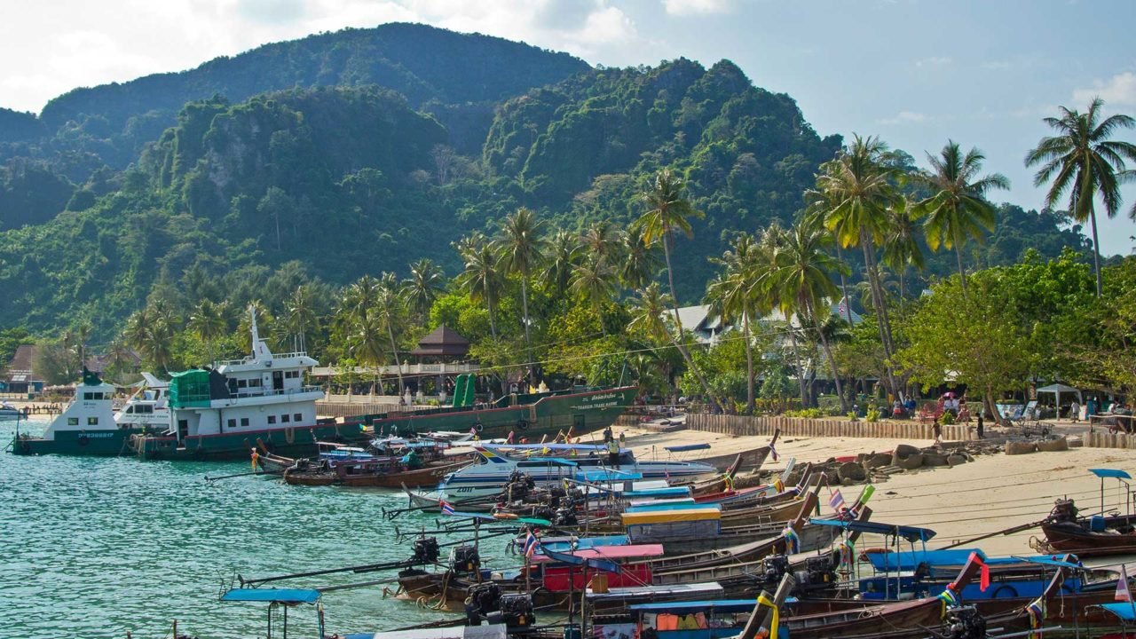 Boats in the harbor of Tonsai on Koh Phi Phi Don