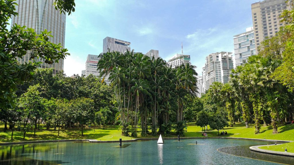Lake and green areas in the KLCC Park of Kuala Lumpur