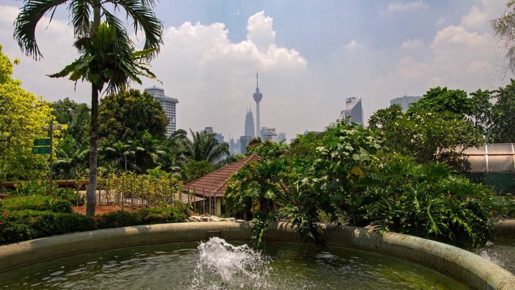 View at the Kuala Lumpur skyline from the Orchid Garden