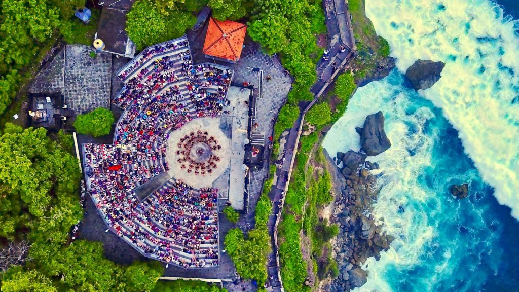 The Pura Luhur Uluwatu from above during the Kecak ceremony (drone shot)