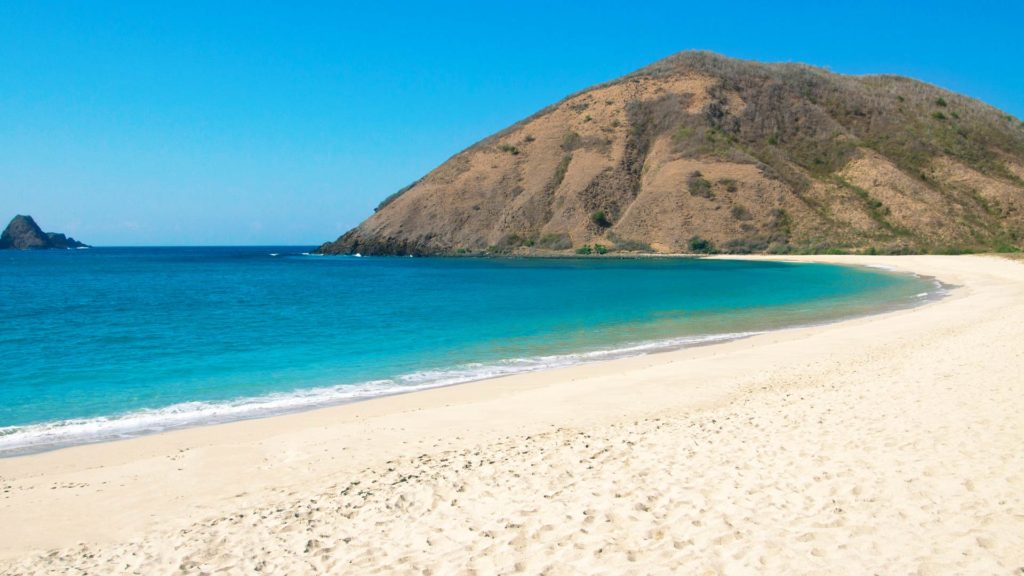 The deserted Mawun Beach in the south of Lombok