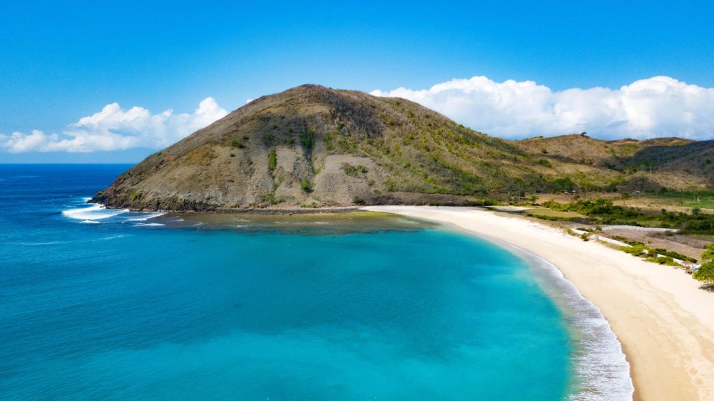 Mawun Beach Lombok taken from above with the drone