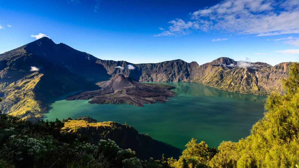 View to the top of the Rinjani and the crater lake Segara Anak