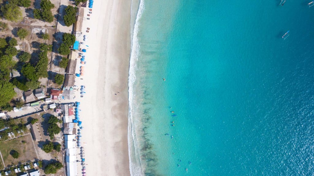 Drone shot from Selong Belanak Beach on Lombok