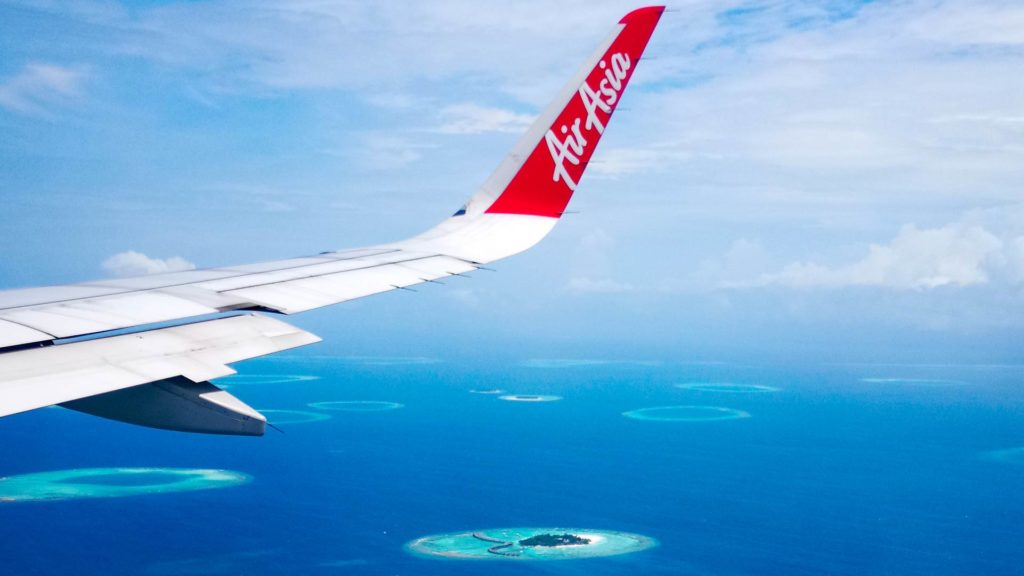 View of Thulhagiri Island from the AirAsia plane
