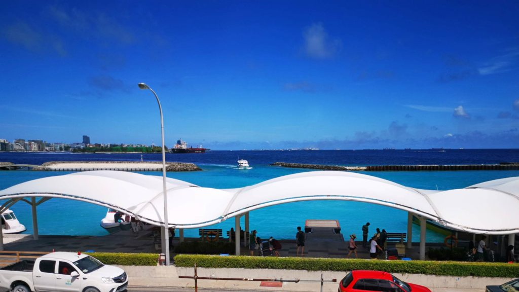 View from the airport/Hulhule Island at the boat pier and Malé