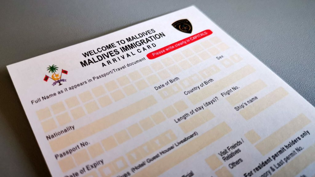 Arrival card for immigration to the Maldives