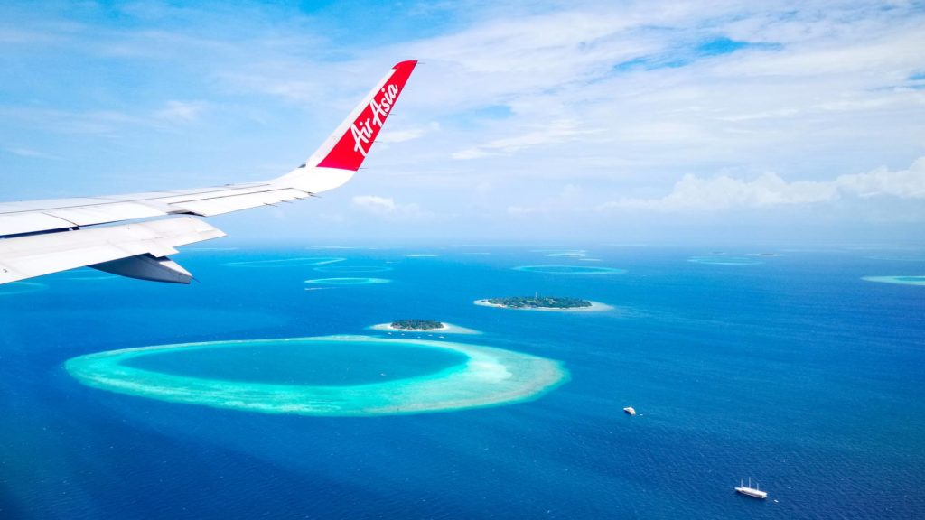 The Maldives from above (flight from Bangkok with AirAsia)