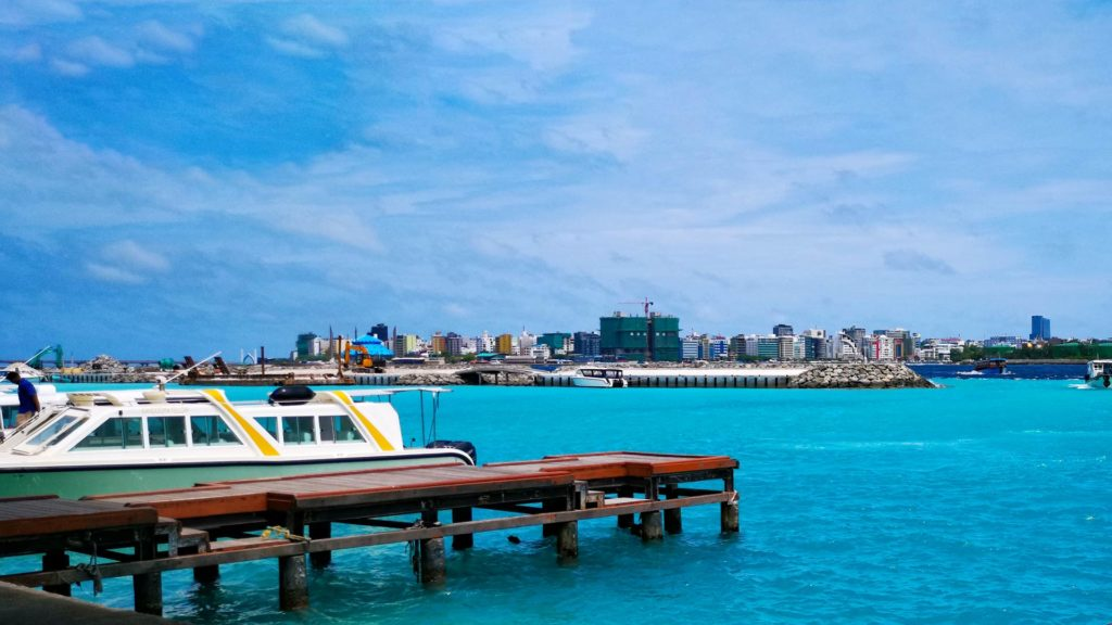 View of the Malé skyline from the airport