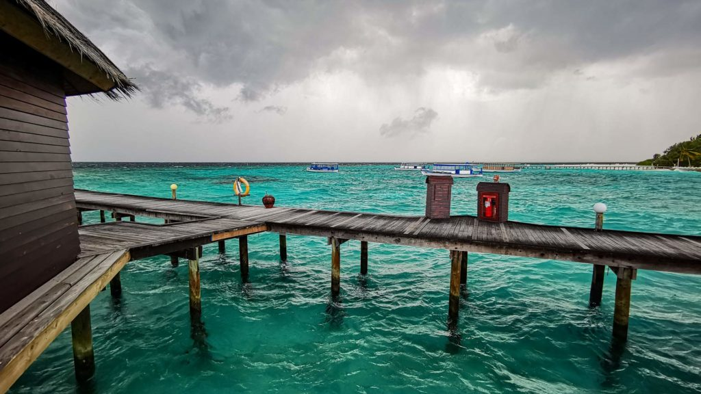 Rain showers in the Maldives