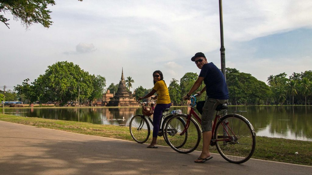 Tobi on the bicycle in the Historical Park of Sukhothai