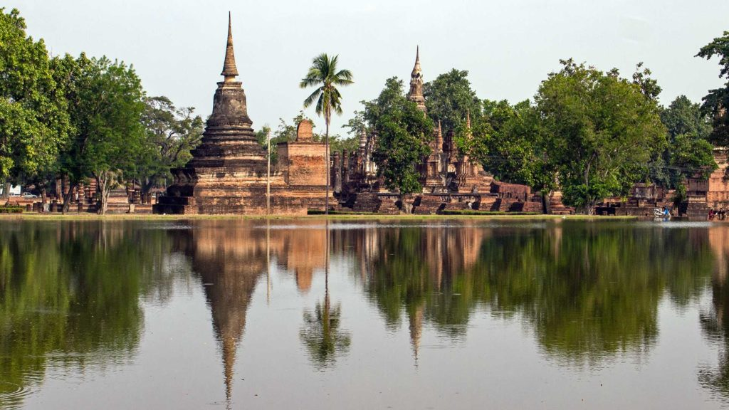View at the Wat Mahathat in the Historical Park in Sukhothai