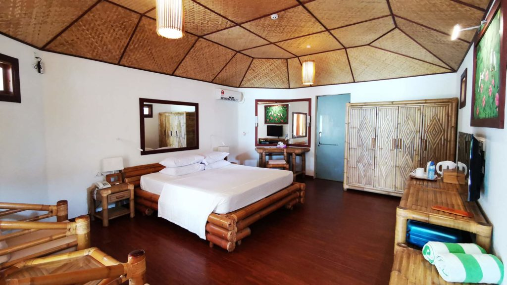 Room of a beach villa at Thulhagiri Island Resort, Maldives