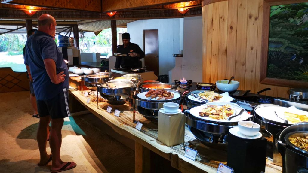 Breakfast buffet and egg preparation at Thulhagiri Island Resort, Maldives