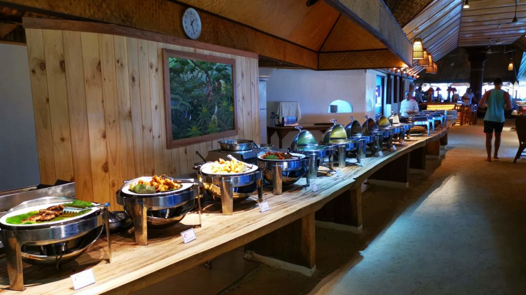 Buffet lunch at the Thulhagiri Island Resort restaurant, Maldives