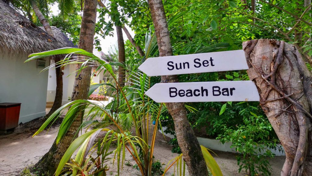 Way to the main beach and the beach bar at Thulhagiri Island Resort, Maldives