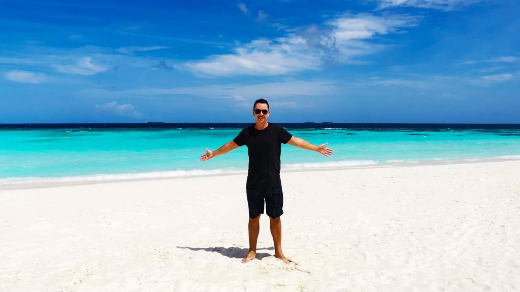 Marcel on the beach of Thulhagiri Island in the Maldives