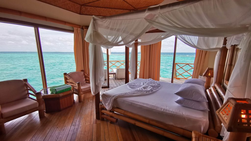 One of the water villas from inside, Thulhagiri Island Resort, Maldives