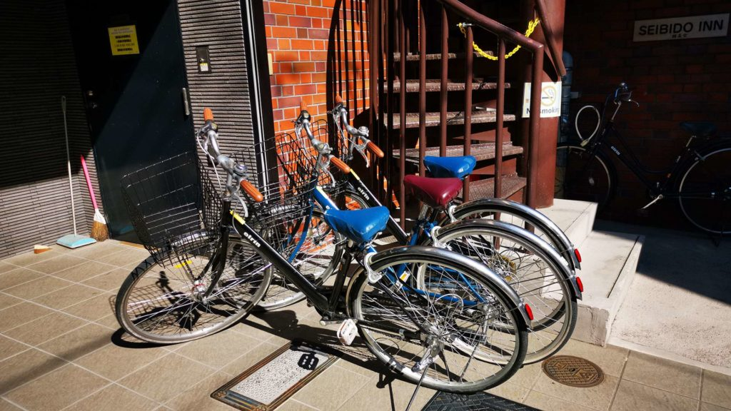 Bicycles for free rent at Seibido Inn, Kyoto