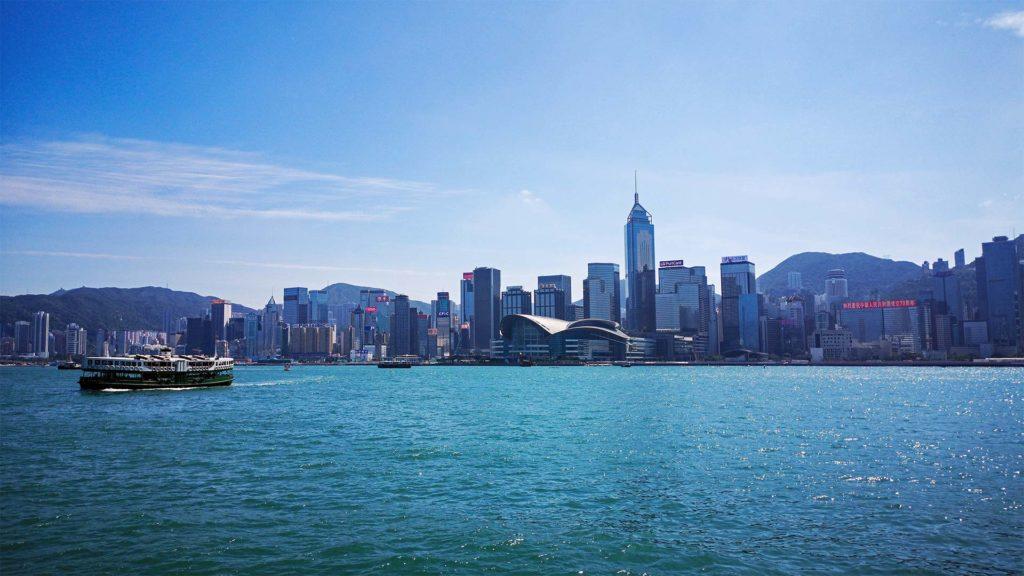 Aussicht von der Star Ferry auf Hong Kong Island