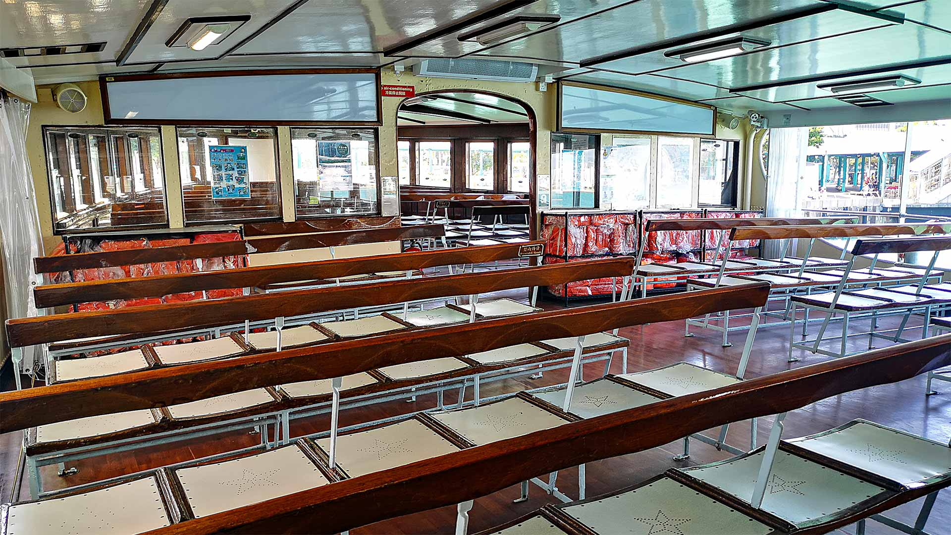 Interior of the Star Ferry from Kowloon to Hong Kong Island