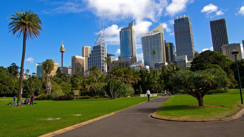 View from the botanical garden at the skyline of Sydney