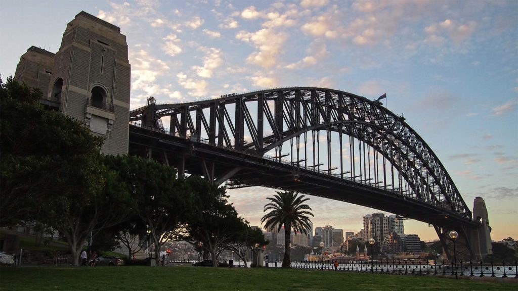 The Harbour Bridge of Sydney during sunset