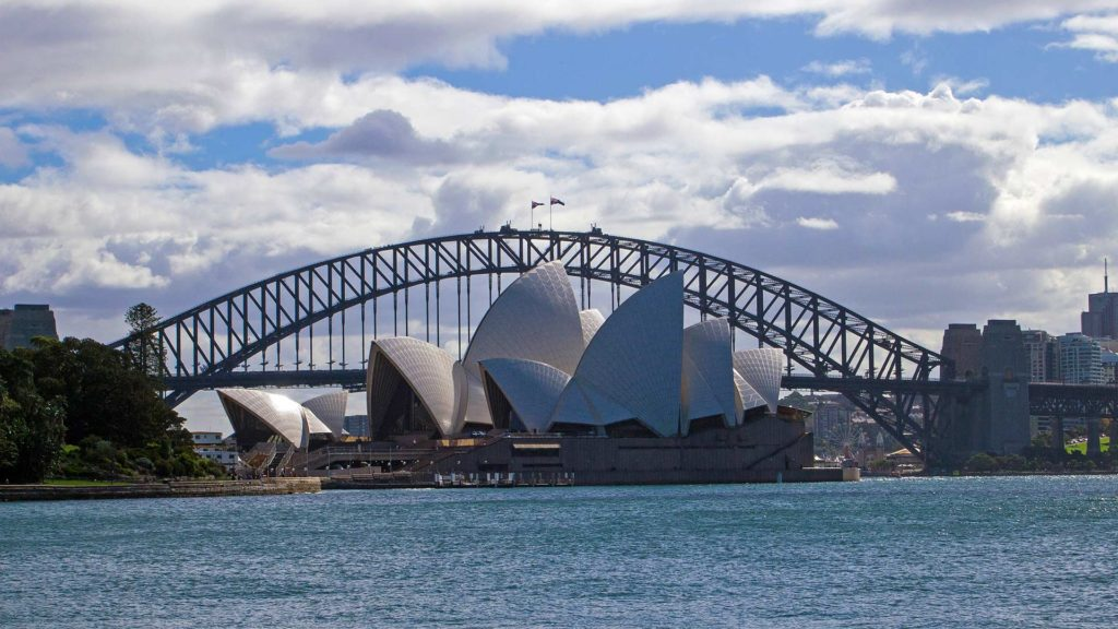 The Sydney Opera House and the Harbour Bridge in the background