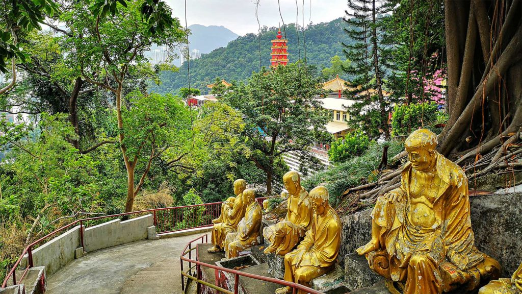 View of the pagoda of the 10000 Buddhas Monastery in Hong Kong