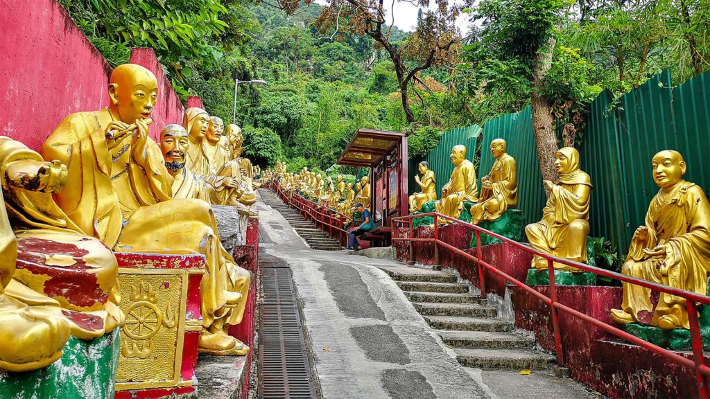 Buddha statues on the way to the 10000 Buddhas Monastery in Hong Kong