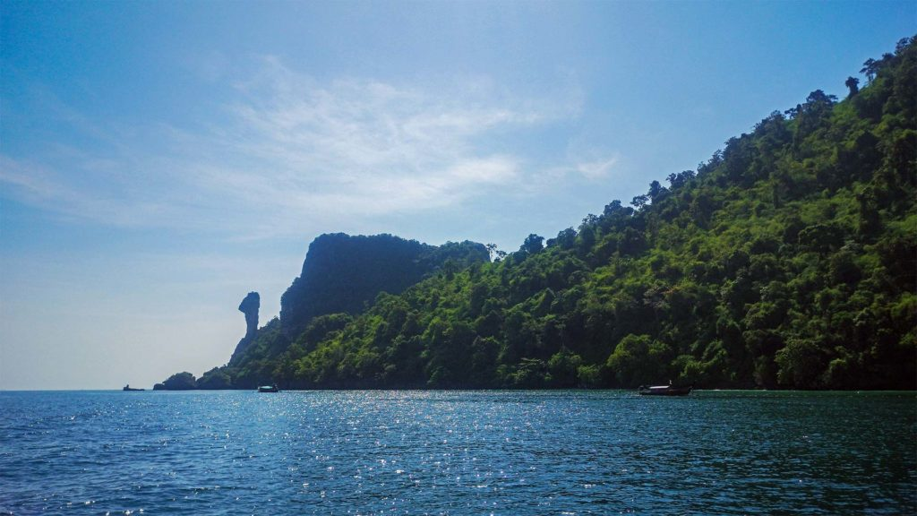 View of Chicken Island from the boat during a Krabi 4 Island Tour