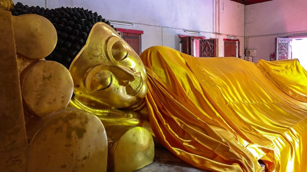 Golden reclining Buddha in the Wat Phra Singh, Chiang Mai