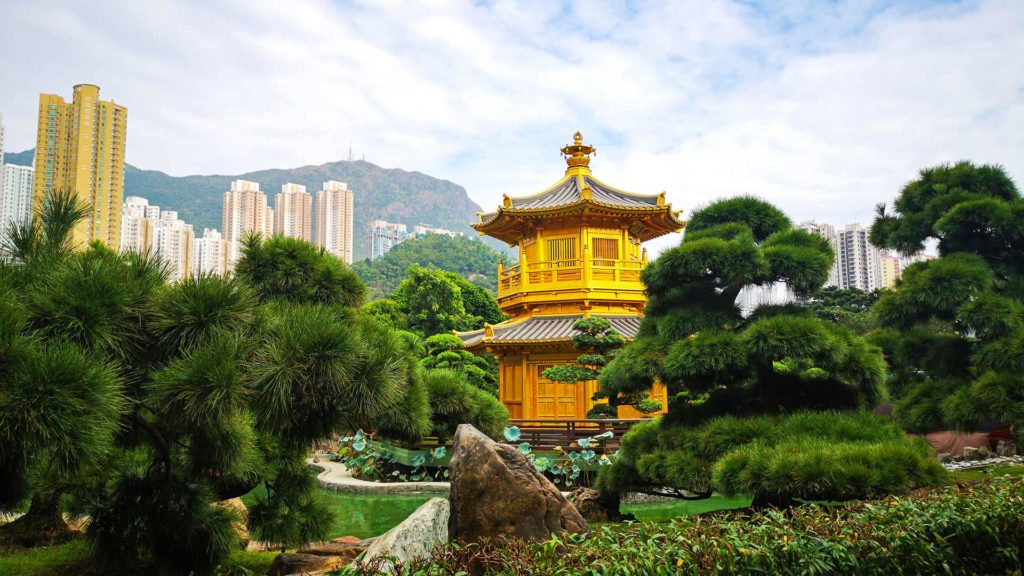 Der goldene Pavillon des Nan Lian Garden in Kowloon, Hong Kong