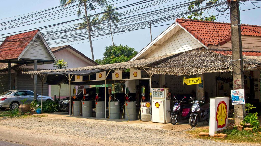 Vintage Shell gas station on Koh Chang