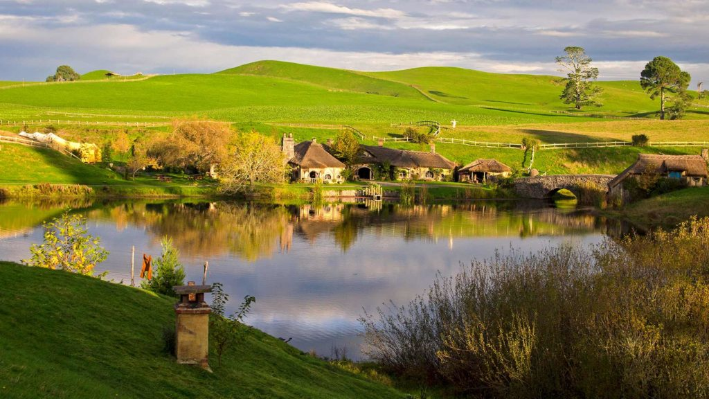 View of the Green Dragon Pub in Hobbiton, Matamata