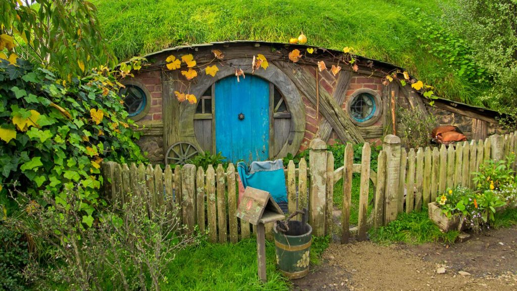 The entrance to a Hobbit house in Hobbiton, Matamata