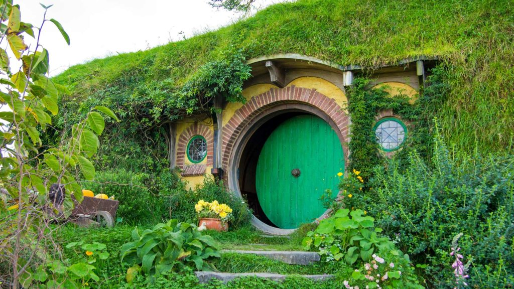 Bilbo's home, Hobbiton Movie Set Tours in Matamata, location of Lord of the Rings and The Hobbit, New Zealand